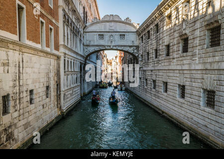 Bridge of Sighs in Venice. Floating gondolas under the Bridge of Sighs, Venice, Italy. - Stock Photo