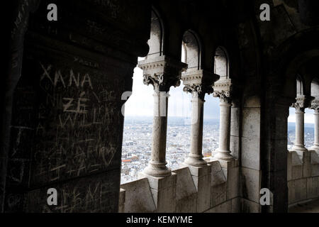 view from the top of Basilique du Sacre Coeur in Montmartre,Paris. With grafitti on the wall - Stock Photo