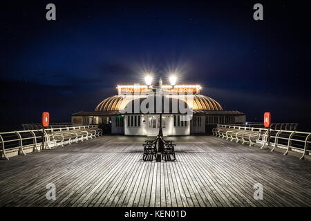 Cromer Pier Pavilion At Night - One of the greatest piers and pavilion theatre's in England jutting out from Cromer - Stock Photo