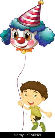 Illustration of a young boy holding a clown balloon on a white background - Stock Photo