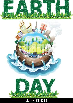 Earth day poster theme on white - Stock Photo
