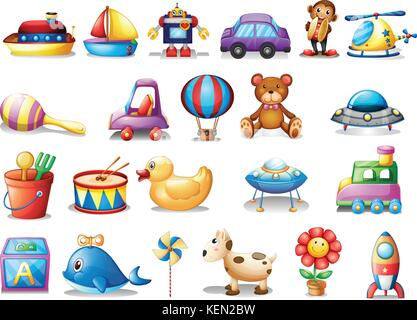 Illustration of the set of different toys on a white background - Stock Photo