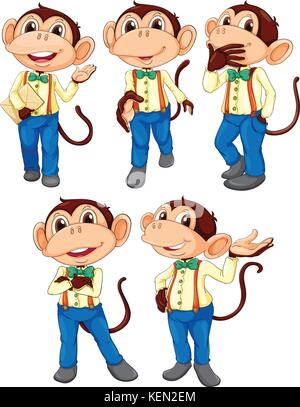Illustration of the five monkeys wearing blue jeans on a white background - Stock Photo