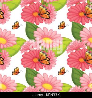 Wallpaper with design of butterflies sitting on pink flowers - Stock Photo