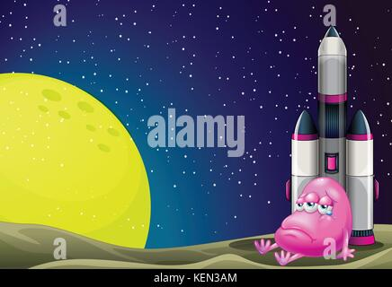 Illustration of a sad monster beside the rocket in the outerspace - Stock Photo