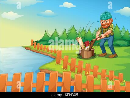 Illustration of a lumberjack chopping wood - Stock Photo