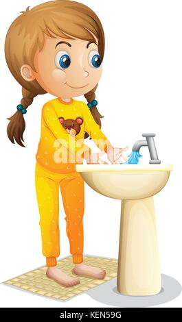 Illustration of a cute young girl washing her hands on a white background - Stock Photo