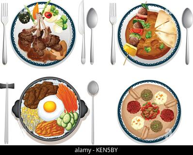Illustration of four dishes of international food - Stock Photo