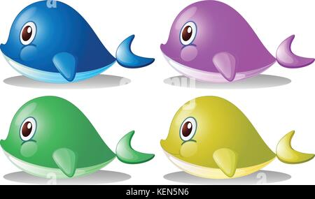 Illustration of the four whales on a white background - Stock Photo