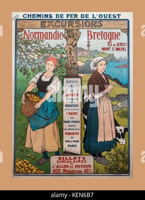 1930's French Railwáys Vintage Poster Normandie Bretagne Excursion Chemins de fer de l'ouest Brittany France - Stock Photo