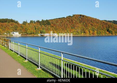 Biggetalsperre in the Fall - on the dam - Stock Photo