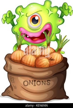 Illustration of a monster and a sack of onions on a white background - Stock Photo