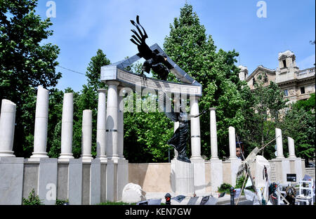 Monument commemorating the occupation of Hungary by Nazi Germany, Budapest, Hungary - Stock Photo