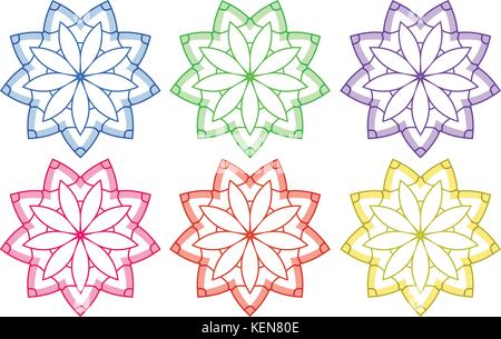 Illustration of the floral patterns on a white background - Stock Photo