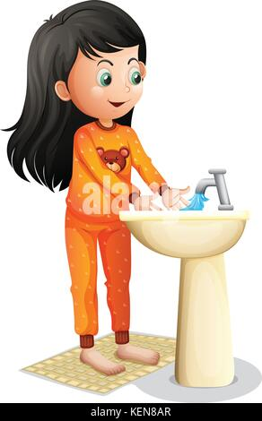 Illustration of a young girl washing her hands on a white background - Stock Photo