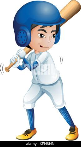 Illustration of a young baseball player on a white background - Stock Photo