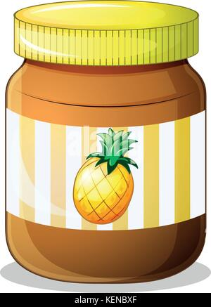 Illustration of a bottle of pineapple jam on a white background - Stock Photo