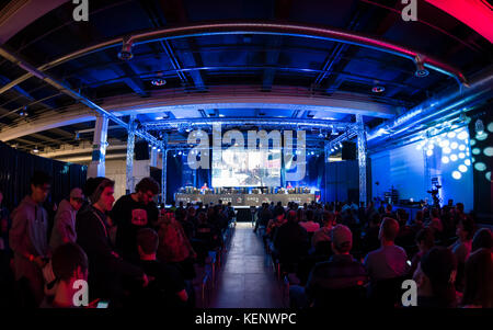 Zurich, Switzerland. 22nd Oct, 2017. Concentration on stage during the Counter-Strike (CSGO) eSports tournament - Stock Photo