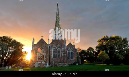All Saints' Church Braunston, Northamptonshire, UK. 22nd October, 2017. UK Weather: sunset at the Cathedral of the - Stock Photo