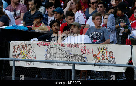 Washington DC, USA. 22nd Oct, 2017. Fans show their support for RFK Stadium during an MLS soccer match between the - Stock Photo