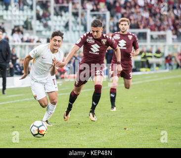 Cengiz Under(AS Roma) during the serie A match: Torino FC vs AS Roma at stadio Olimpico Grande Torino. Turin, 22th - Stock Photo