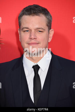 Los Angeles, USA. 22nd Oct, 2017. Matt Damon 040 arriving at the Suburbicon Premiere at the Westwood Village Theatre - Stock Photo