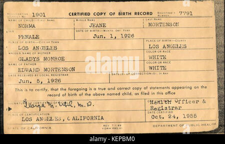Marilyn Monroe Birth Certificate Stock Photo: 163973711 - Alamy
