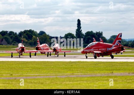 The Royal Air Force Aerobatic Team The Red Arrows at the Royal Naval Air Station Yeovilton, International Air Day - Stock Photo