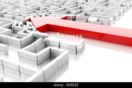 3d illustration. Blue arrow breaking down the walls in the maze. Unexpected solutions concept. Isolated white background - Stock Photo