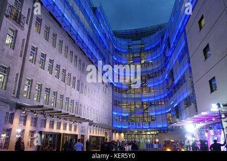 View of BBC Broadcasting House in London at night - Stock Photo