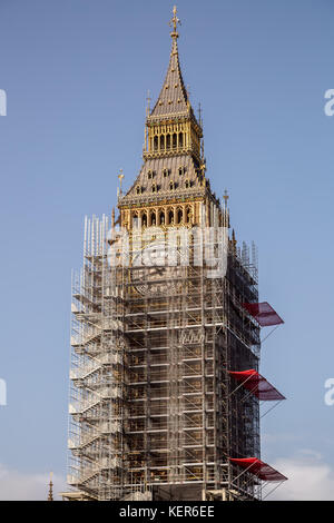 Big Ben and Westminster's Parliament buildings seen with scaffolding ready  for the renovation program which could - Stock Photo