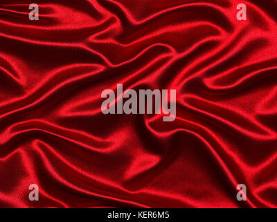 Luxurious elegant red silk or satin waves for abstract background - Stock Photo