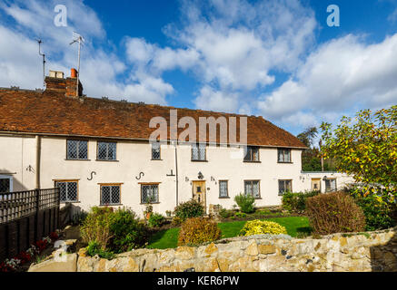 Charming country cottages with leaded light windows and wooden front door in Shalford, a village near Guildford, - Stock Photo