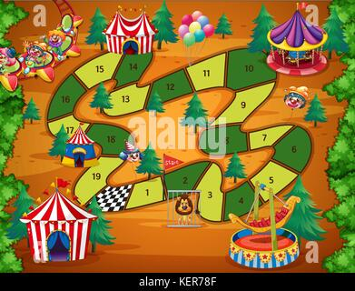 Boardgame with numbers and circus theme - Stock Photo