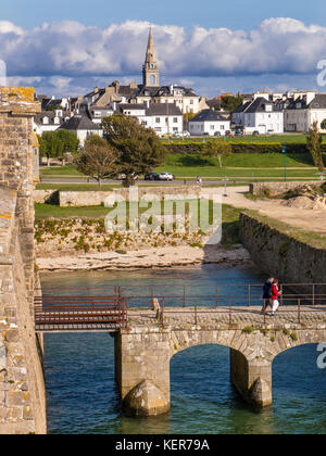 PORT-LOUIS BRITTANY FORT La Citadelle / Citadel entrance, a coastal historic star-shaped fort, built in 1591 in - Stock Photo