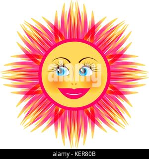Vector Summer Sun Face With Red Sunglasses And Happy Big