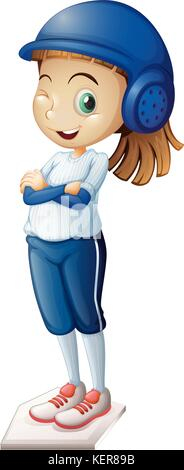 Illustration of a cute baseball player on a white background - Stock Photo