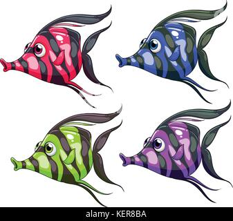 Four colorful fishes on a white background - Stock Photo