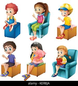 Illustration of the kids sitting on a white background - Stock Photo