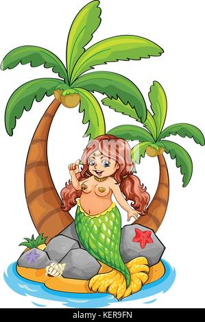 Illustration of an island with a mermaid on a white background - Stock Photo