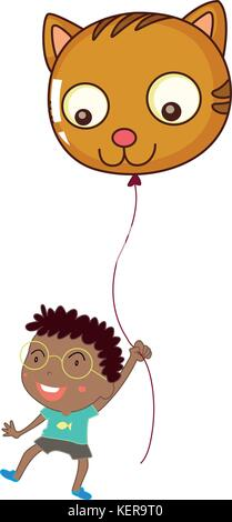 Illustration of a boy holding a cat balloon on a white background - Stock Photo