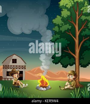 Illustration of the two explorers making a campfire - Stock Photo