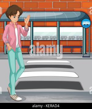 Illustration of a young boy near the bus stop - Stock Photo