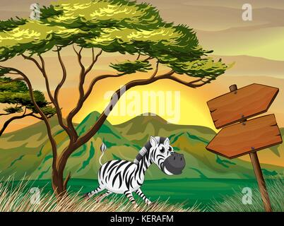 lllustration of a zebra running following the wooden arrowboards - Stock Photo