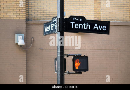 Tenth Avenue and West 16th Street signs