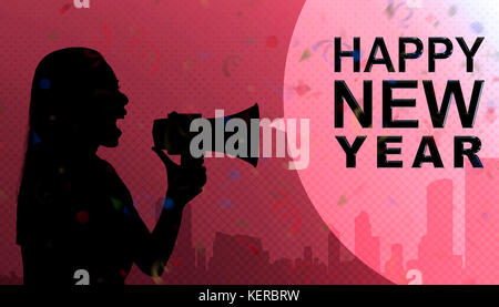Silhouette of business woman talking in megaphone with Happy New Year message on pink background - Stock Photo