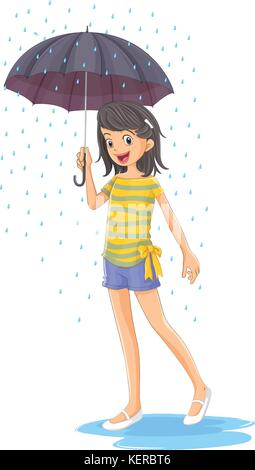 Illustration of a girl holding an umbrella on a white background - Stock Photo