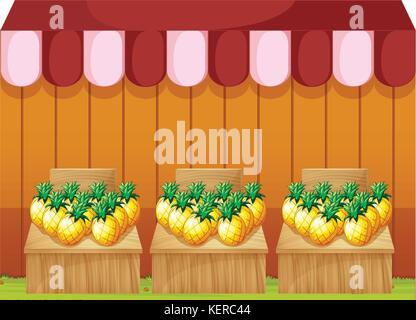Illustration of a fruitstand selling pineapples with empty signboards on a white background - Stock Photo