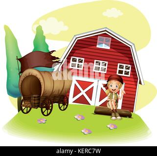 Illustration of a wagon and a girl in front of the barnhouse on a white background - Stock Photo