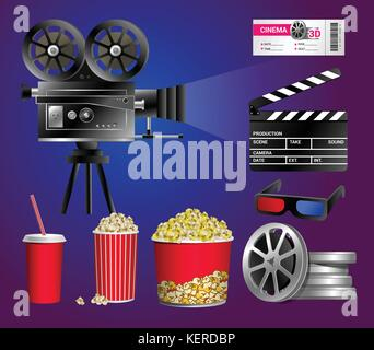 Set of cinema objects - modern vector realistic isolated clip art - Stock Photo